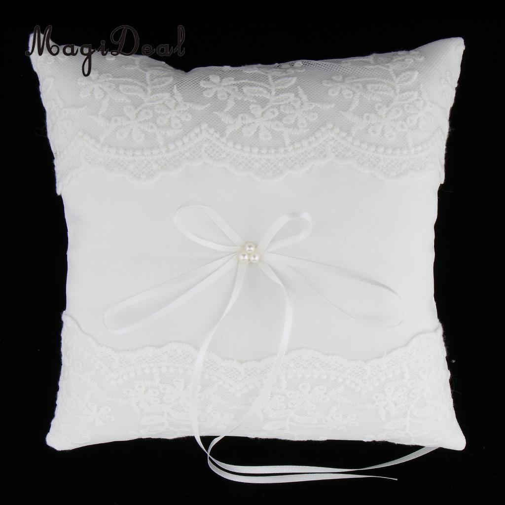 MagiDeal délicat mariage cérémonie fête perles dentelle anneau oreiller coussin porteur pour fiançailles mariage proposition décor blanc