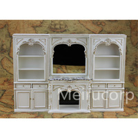 Dolls house miniature furniture 1/12 scale classical white Handmade gilt Fireplace and wall