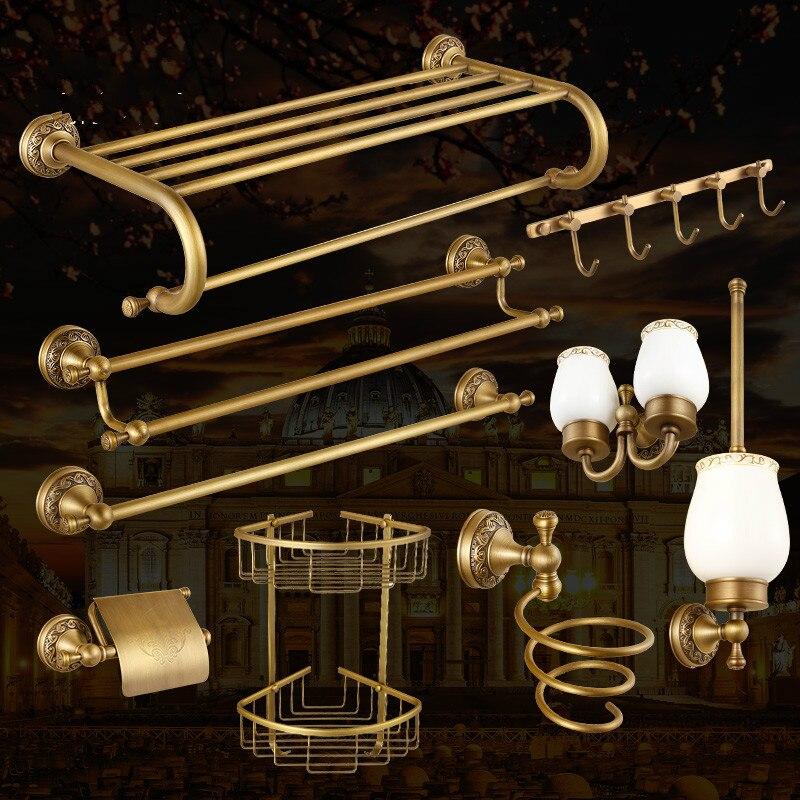 Antique Bronze Brass Carved Bathroom Accessories Set Brushed Bathroom Products Solid Brass Bath Hardware Sets High