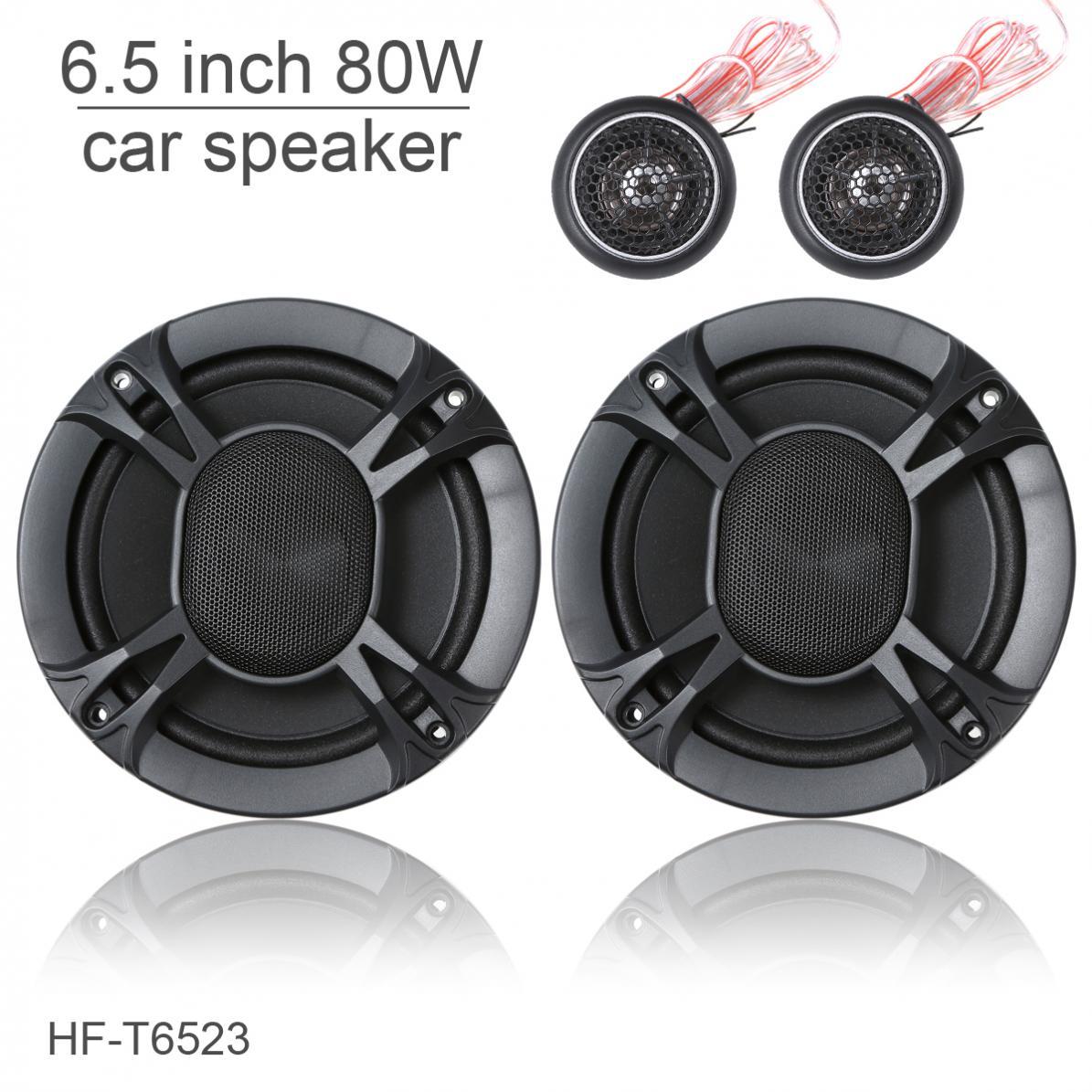HF-T6523 un ensemble 6.5 pouces 80 W voiture Coaxial gamme complète fréquence haut-parleur stéréo avec Tweeter et diviseur de fréquence
