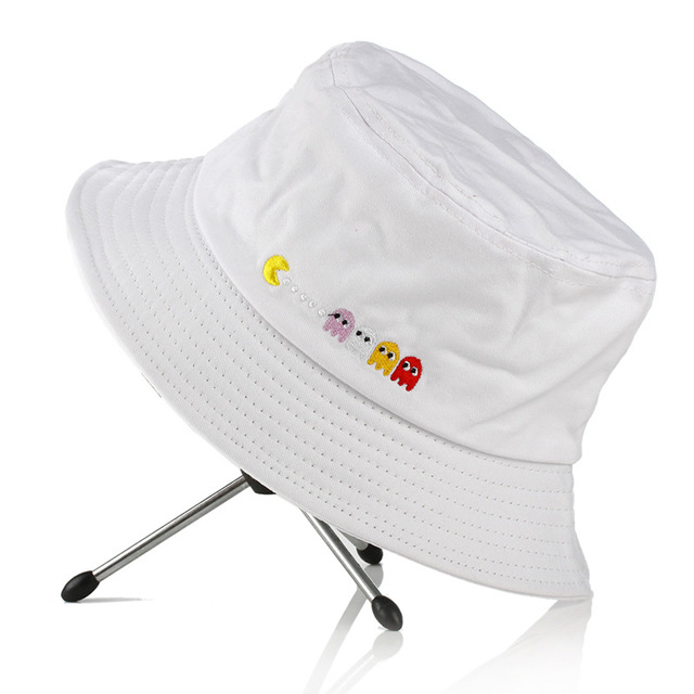 0ce58e4fff5 New PIXELS Movie Pacman Bucket Hat Ghost And Pac Man Panama bucket Caps  polo hat Unisex