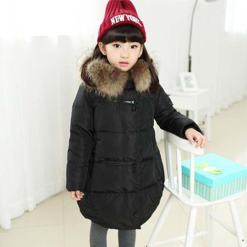 5-12Years Children's clothing Girls Fur Collar Jackets Casual hooded White Duck Down Coats high quality princess winter outwear winter hooded jacket for girls 80% white duck down warm long coats children s girl clothing teenager jackets high quality 6 12t