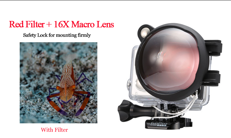 2in1 Action Camera Dive Filter Set with 16X Macro Lens for Gopro Go Pro Hero 7 6 5 Black Underwater Diving Red Dive Lens Filter (11)