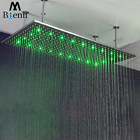 Big Rainfall Showerhead LED Water Power Rain Bathroom Showers LED lighting Shower Heads Led Temperature With Shower Arms Brushed
