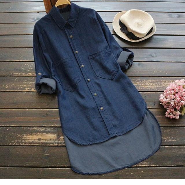 4XL 5XL большой Размеры женская джинсовая рубашка АСИММЕТРИЧНЫМ ПОДОЛОМ Длина карманов кнопки с длинным рукавом Женские Топы Осень камень застиранные джинсы Блузка