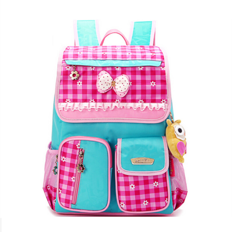 38f34f254d 2018 girls school bags children backpacks elementary school backpack girl  schoolbag pink blue plaid waterproof backpack book bag