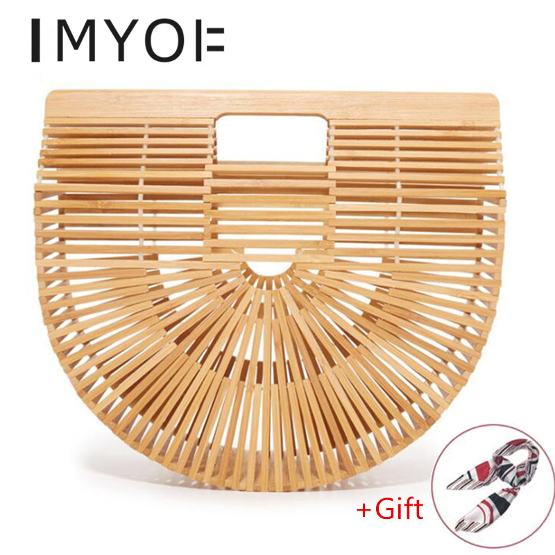 New Big Travel Vacation Totes Bamboo Handbag For Ladies Women Handbag Female Handmade Woven Straw Beach Bag Summer Women's Purse