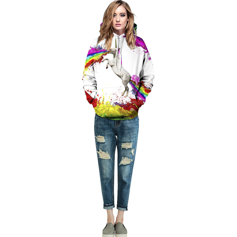 Rimiut 2017 Fall/Winter New Outerwears Hoodies Unicorn Print 3D Sweatshirt Men Women Hooded Pullover Tops Plus Size