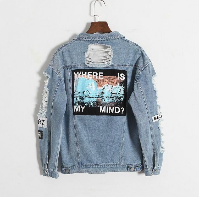 Dove è la mia mente? corea retrò lavaggio sfilacciato lettera del ricamo patch bomber giacca Blu Strappato Distressed Denim Cappotto Femminile