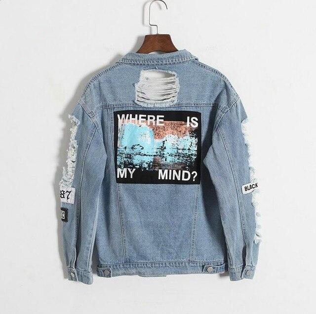 Onde está a minha mente? coreia do retro lavar desgastado patch bordado carta bombardeiro jaqueta Azul Rasgado Afligido Denim Casaco Feminino