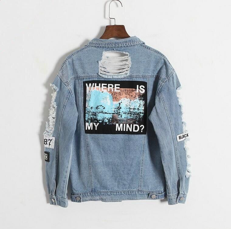 Wo ist mein geist? Korea Kpop retro ausgefranste stickerei brief patch bomber jacke frauen Blau Zerrissene Distressed Denim Mantel Weibliche