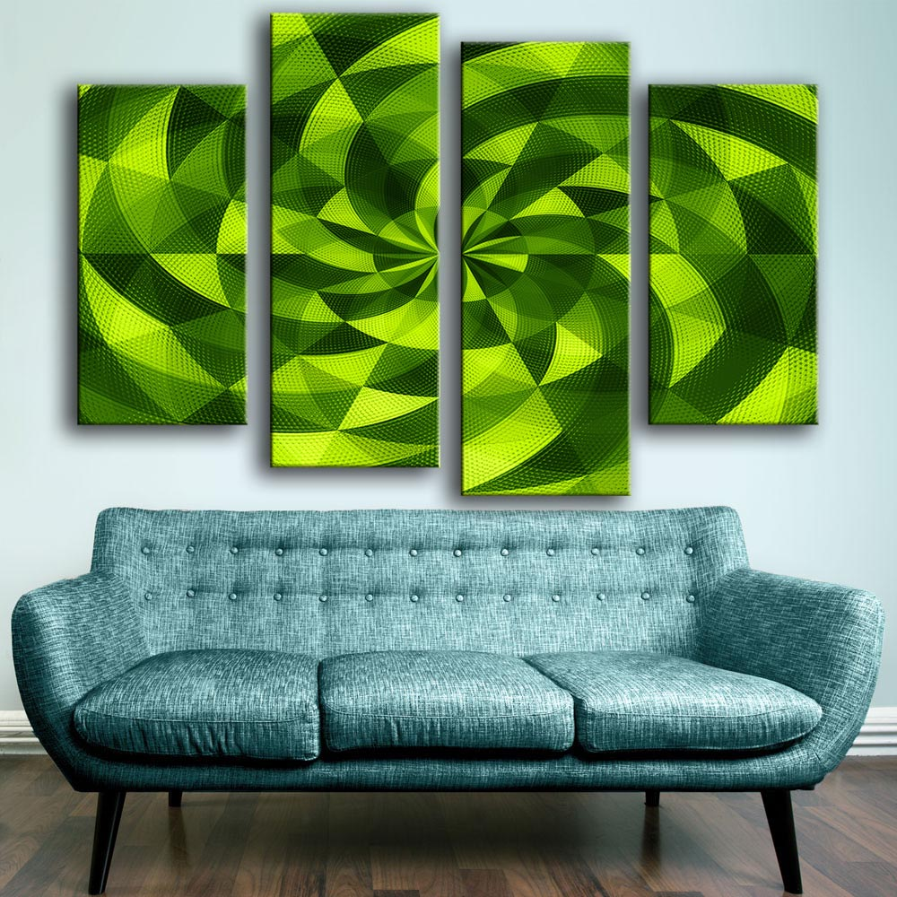 On Sale 4 PCS Abstract 3D Green Art Unframed Wall Picture Art Wall Painting Home Decoration Printed On Canvas Free Shipping