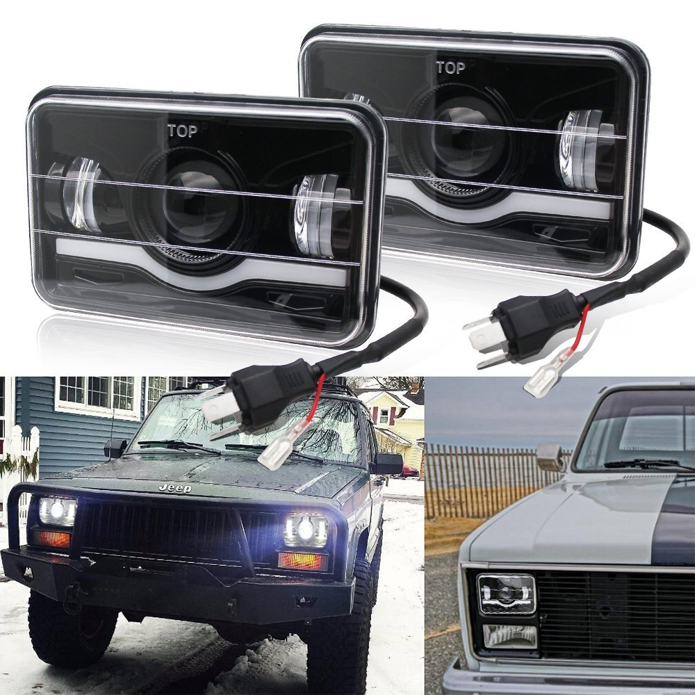 2PCS LED Rectangular Headlight Projector 4x6 Sealed Beam Replacement Hi/Lo Beam DRL Fits Headlamp Bulb for Jeep Wrangler ,T001N