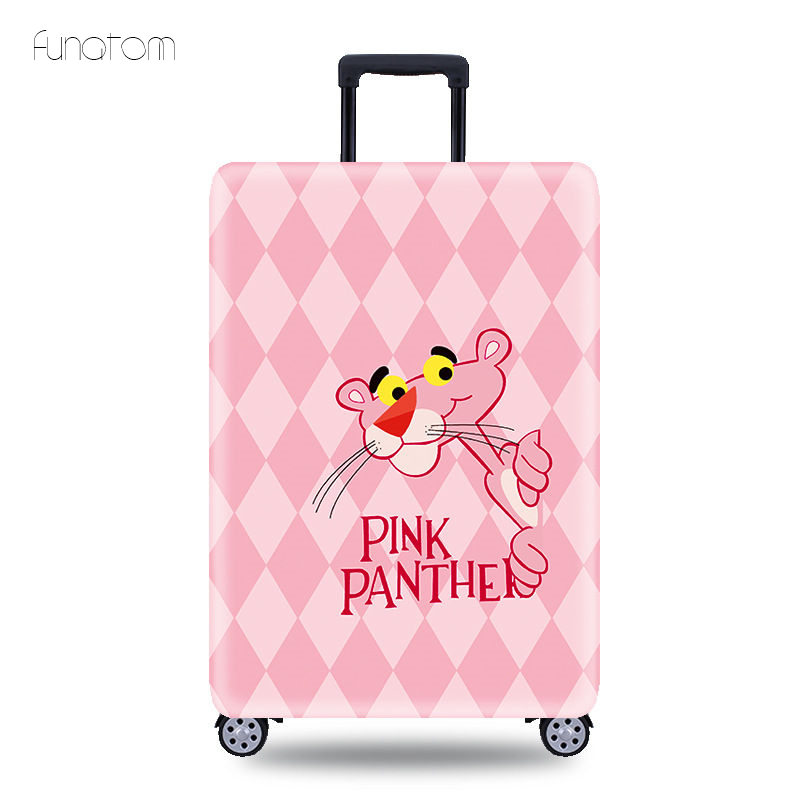 Trolley Case Suitcase Pink Pather Dust Cover Elastic Fabric Luggage Protective Cover Suitable18-32 Inch Travel Accessories