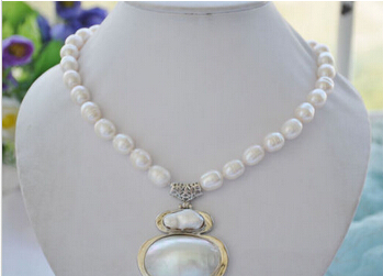 Free shipping Miss charm Jew.518 17 NATURE WHITE RICE freshwater pearl NECKLACE MABE PENDANT