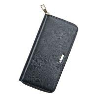 Premium Quality Men's Genuine Leather Bluetooth Smart Long Wallet Credit Card Holder Anti Lost Locator Purse