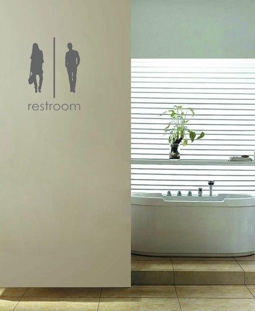 unisex bagno signs wall art decalcomanie della decorazione della casa pitture murali carta da parati autoadesiva
