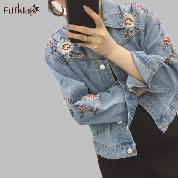 Осень-зима принт Для женщин верхняя одежда 2018 новые женские Модные джинсовая куртка в Корейском стиле джинсы пальто ковбойские куртки для Д...