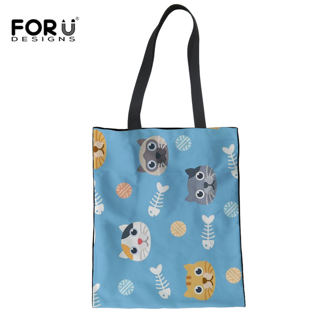 FORUDESIGNS Cute Cats Fish Pattern School Bags For Teenage Girls Fashion Kid  School Book Crossbody Bag a62d6d7ff269b