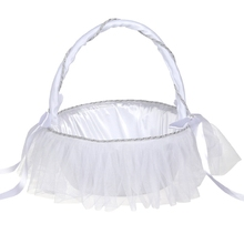 Hot Sale Romantic Bowknot White Satin Wedding Ceremony Party Flower Girl Basket N Lace Supplies
