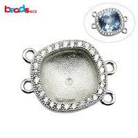 Beadsnice real ajuste da moldura pingente de prata 925 jóias conectores para pavimentar ligações com a Áustria cristal pingente quadrado ID30809