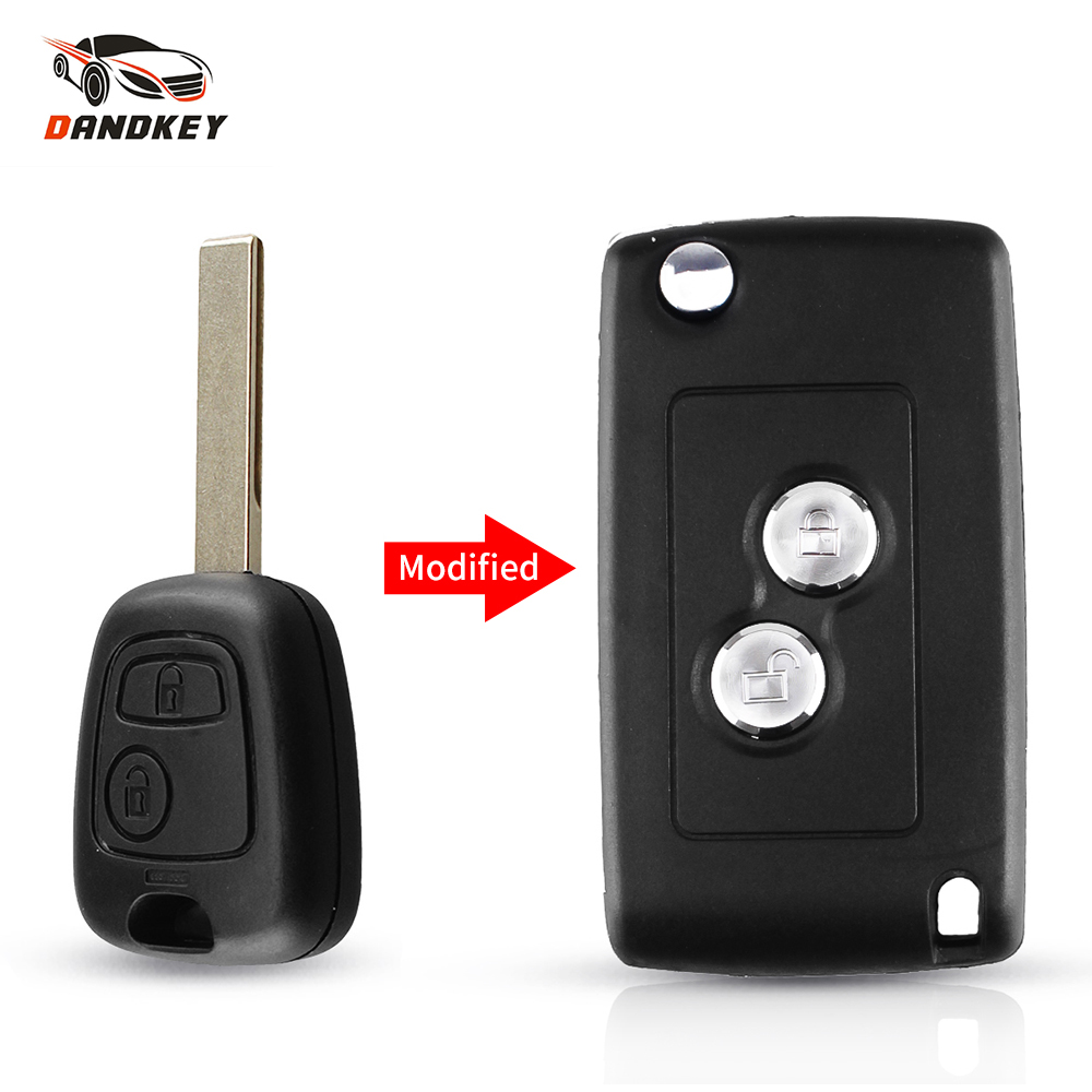 Dandkey Modified Flip Remote Car Case Key Shell For Peugeot 107 207 307 For For