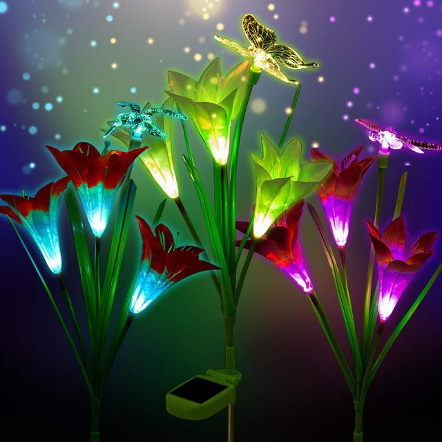 3Pack Outdoor Solar Garden Stake Lights Solar Powered Multi-color Changing Lights with Lily Flowers Butterfly Hummingb Dragonfly
