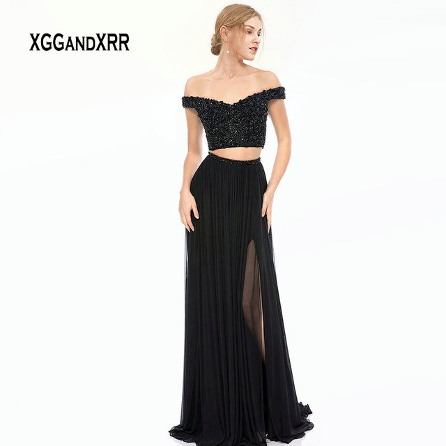 Sexy Two Piece Prom Dress 2019 Black Long Gala Jurken Beading Top Side Slit Sweep Train vestidos de gala Dress Elegant Plus Size