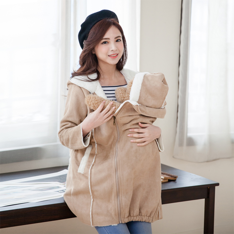 Fashion Cute Maternity Coat thicken Warming cotton Maternity clothes for holding babies pregnant Women Winter jackets 2 in 1 use maternity clothes new stely fashion loose pure color cloak jacket clothes for pregnant women coat