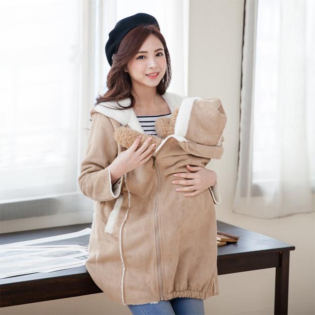 Moda Lindo Abrigo de Maternidad ropa de Maternidad de algodón espesar Calentamiento para la celebración de los bebés embarazada Mujeres chaquetas de Invierno 2 en 1 uso