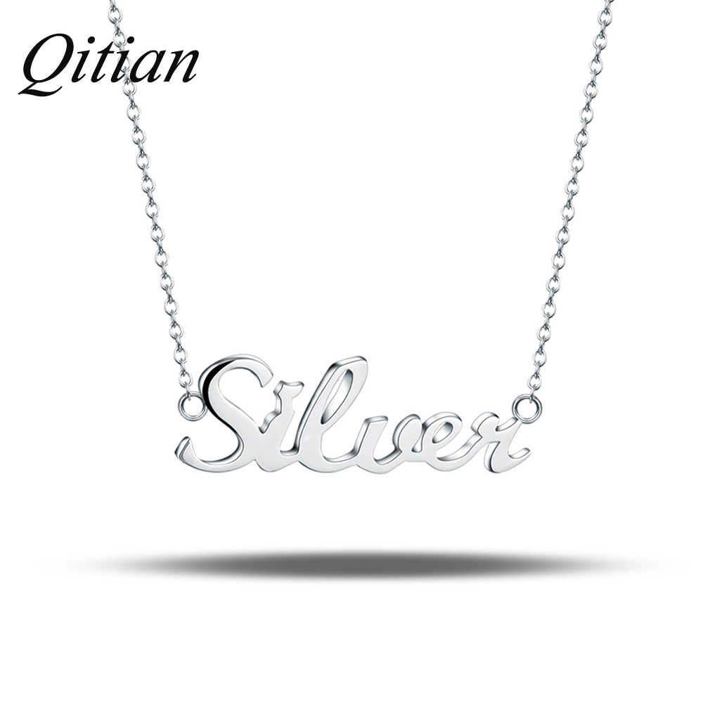 af90298b61d1b 925 Sterling Silver Name Necklace Custom Old English Arabic Necklaces For  Women DIY Personalized Jewelry Etsy Dropshipping
