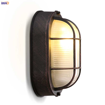 IWHD Loft Industrial Retro Wall Lights Fixtures Hallway Balcony Bar Glass Lampshade Vintage Wall Lamp LED Stair Light Luminaire iwhd style loft industrial wall lamp vintage adjustable swing long arm wall light fixtures glass ball lampshade