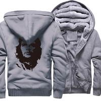 Casual Sweatshirt Male 2017 Winter Fleece Thick Hoodies Men Zipped Sweatshirts Print Ernesto Guevara Punk Style Hoody Tracksuit