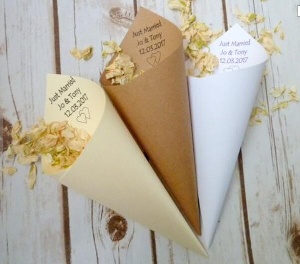 Personalized Just Married Wedding Rice Confetti Cones, Customize Wedding Confetti Toss Birthday Pocorn Candy Cones