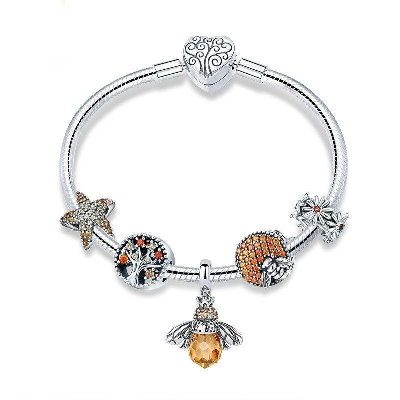 2019 populaire miel abeilles pendentifs étoile de mer bracelets à breloques pour femme douce Original 925 perles en argent Sterling pour la fabrication de bijoux