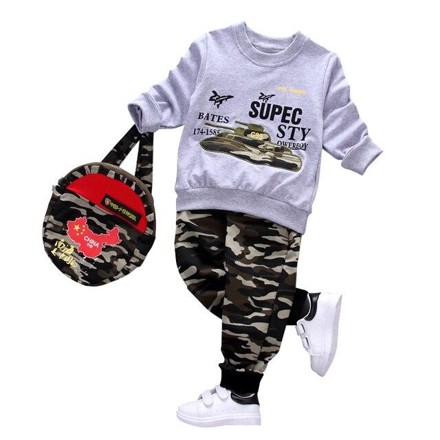 Мода камуфляж дети мальчики одежда набор малышей одежда С Длинным Рукавом Футболка + Брюки + школьный 3 Шт. мальчик спортивный костюм досуг одежды