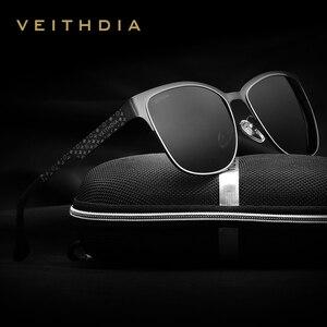 Image 1 - VEITHDIA ماركة نظارات الفولاذ المقاوم للصدأ نظارات شمسية مستقطبة UV400 عدسة الرجال الذكور نظارات للرجال/النساء الأزرق عدسات عاكسة 3580