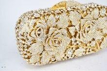 Luxury crystal clutch evening bag Golden rose flower party purse women wedding bridal handbag pouch soiree pochette bag SC013