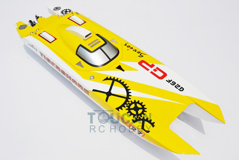 G30F ARTR Catamaran 50 FiberGlass 30CC Engine Gas RC Boat Water Cool Sys Yellow aluminum water cool flange fits 26 29cc qj zenoah rcmk cy gas engine for rc boat