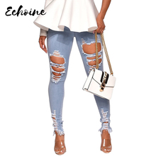 цена на Echoine Women High Waist Vintage Hole Hollow Out Skinny Jeans Pants 2019 New Arrival Summer Bodycon Denim Long Pants Trousers