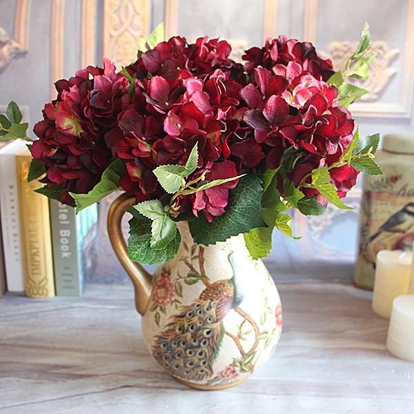 Soledi 1 Bouquet Artificial Silk Peony Flower Wine Red Rose Fl Fake Flowers Arrangement Hydrangea Home Wedding Decor Flores In Dried