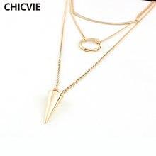 Женское многослойное ожерелье и кулоны chicvie золотистого цвета