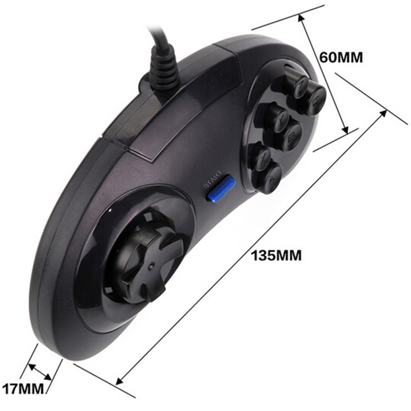 SONGFINN for SEGA USB Classic Gamepad 6 Buttons USB Gaming Joystick Holder for PC MAC Mega Drive Controllers Blue Start Button