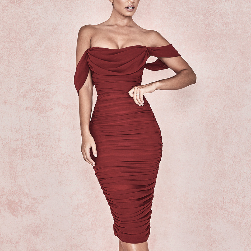 Adyce 2019 New Summer Women Club Dress Vestidos Draped Slash Neck Celebrity Party Dress Elegant Off The Shoulder Bodycon Dresses-in Dresses from Women's Clothing    2