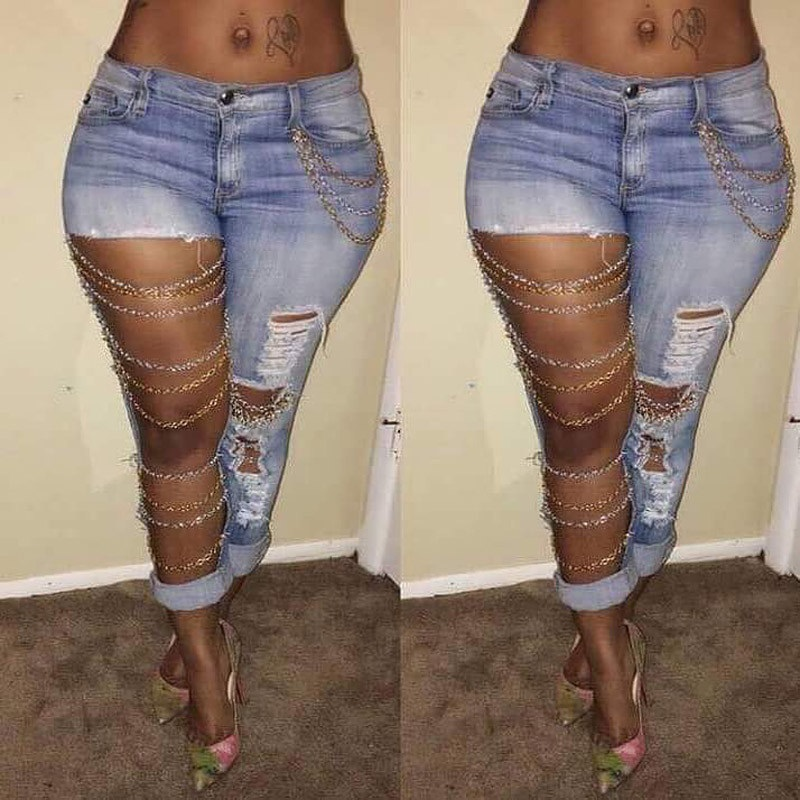 Hole Jeans Fashion Women Sexy Destroyed Ripped Distressed Chain Denim Pants Boyfriend Jeans