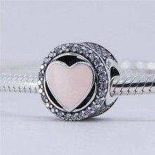 Se adapta a Pandora pulsera del encanto Circular granos de plata con rosa del Amor del corazón 925 joyería de plata esterlina DIY 2017 Día de San Valentín