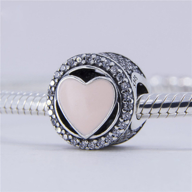 Fits Pandora charm bracelet Circular silver beads with pink Love heart 925 sterling silver jewelry DIY 2017 Valentine 's Day
