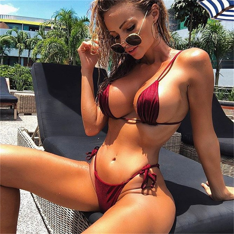 Sexy Brazilian Bikini Women Strapless Swimwear Bandage Thong Bikini Set Push Up Swimsuit E Female Brazilian Biquini