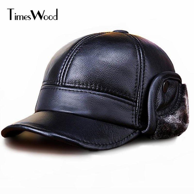 [TIMESWOOD] 2017 New Genuine Cowhide Leather Fitted Fur Baseball Cap Plain Black Color Cowskin Bones Men Winter Ear Warm Hats new high quality warm winter baseball cap men brand snapback black solid bone baseball mens winter hats ear flaps free sipping