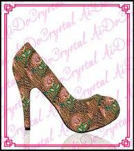 Aidocrystal mode bling bling kristall high heels, frauen strass mädchen partei schuhe